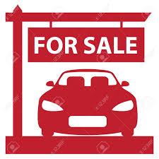 Automobile For Sale Sign Red Car Showroom With Car For Sale Sign Icon Sticker Or Label