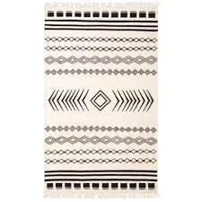 signature styles boho black and white area rug 5x8 jute in black