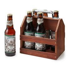 wooden 6 pack beer tote