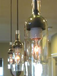 glass bottle chandelier diy stylish pendant light fixture three pendant lights for kitchen made of wine