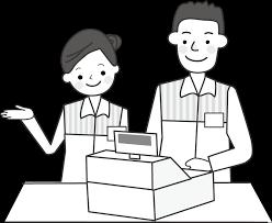 人物職業販売レジイラスト無料素材