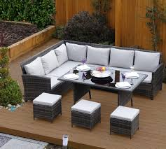 grey rattan dining table. 9 seater rattan corner garden sofa \u0026 dining table set in dark mixed grey with light l