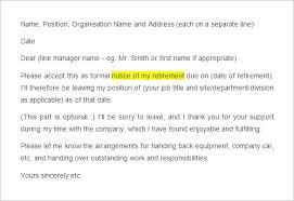 sample retirement notice letter retirement letter to company