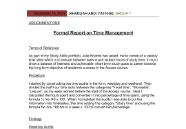 formal report on time management as part of my study skills document image preview
