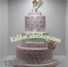 Wedding Cake 3 Susun Pink Putih Kue Ulang Tahun Bandung