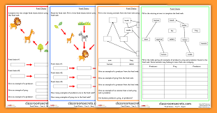 Year 4 Food Chains and Food Webs Science Worksheets | Classroom ...