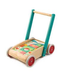 tender leaf toys wooden push along wagon walker with blocks