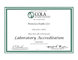 the search for a high quality biometric screener cola certificate of accreditation
