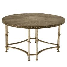 round vintage french forties hammered steel coffee table for