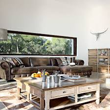 living room ideas leather furniture. rustic living room with brown leather couch and distressed wood coffee table bookshelf ideas furniture s