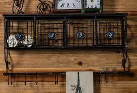 industrial metal shelf with baskets hooks