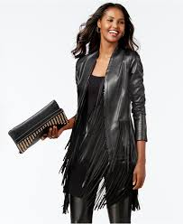 s women fringed leather jackets lyst inc international concepts vakko for fringe trim faux leather
