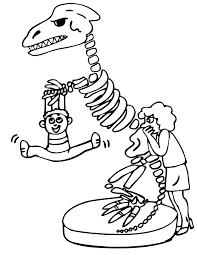 Dinosaur Coloring Page Kid Playing On Dinosaur Bones Coloring Home