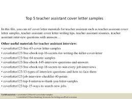 Letter Templates For Teachers Top 5 Teacher Assistant Cover Letter Samples