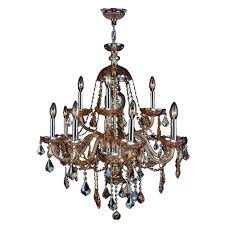 worldwide lighting provence collection 12 light chrome chandelier with amber crystal