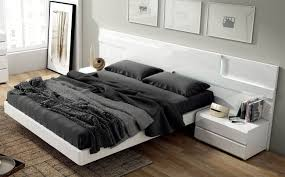 lacquered made in spain wood modern platform bed with extra