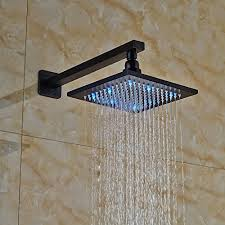 votamuta wall mounted led lights 8 rain shower faucet set 1 handle diverter mixer valve with handheld spray head oil rubbed bronze wall s furniture