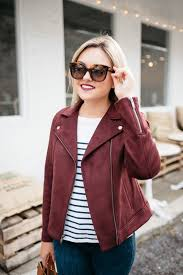 bows sequins wearing celine sunglasses an old navy suede moto jacket striped shirt