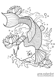Small Picture Koi fish in a pond coloring page Print Color Fun