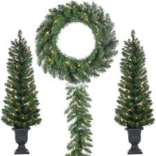 Home Depot Lighted Garland 4 Ft Pre Lit Vancouver Pine Potted Trees With Battery Operated Wreath And Garland 4 Piece Set