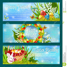easter egg hunt template easter egg hunt celebration banner template set stock vector
