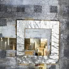 Wandbild Mit Metallelementen Leinwand Handgemalt Modern Design