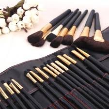 32pcs makeup brush set cosmetic brushes make up kit gold pouch bag case incoins mac