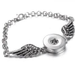hot fashion rhinestone wings snap bracelet 18cm necklace fit 18mm snap ons snap jewelry whole sg0150