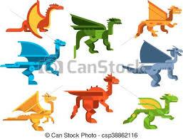 cartoon flying dragons flat icons csp38862116