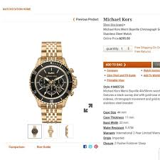 Michael Kors Watch Size Chart Michael Kors Watch New