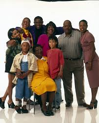 michelle thomas and shemar moore. back row:michelle thomas;jaleel white;darius mccrary;jomarie payton;reginald michelle thomas and shemar moore