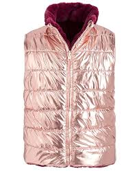 Coats Epic Thread Color Chart Big Girls Reversible Metallic Faux Fur Puffer Vest