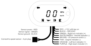 mcl 5100, 5200, & 5400 bar mount digital speedometer with indicators Iztoss Motorcycle Tachometer Wiring at Dakota Digital Motorcycle Tachometer Wiring Diagram
