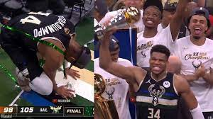 Milwaukee Bucks celebrate with the NBA Finals trophy after game 6 vs Suns -  YouTube