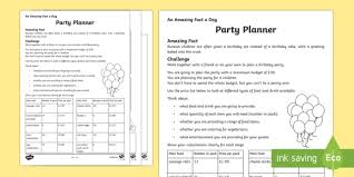 Party Planner Spreadsheet A Party Planner Worksheet Activity Sheet