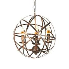 iron candle chandelier aged brass 4 light candle chandelier with globe shade in rustic iron style