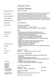 Facilities Manager Resume, Property Maintenance, Job Description ...