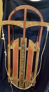 vintage shooting star wood toboggan sled winter 40 5 long red blue