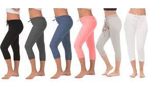 Coco Limon Womens Capri Joggers 4 Pack Plus Sizes