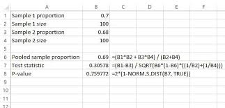 two proportion z test in excel