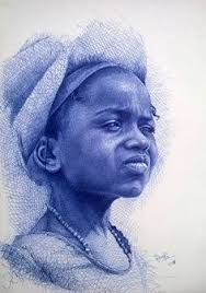 artist enam bosokah from ghana uses a blue ballpoint pen to create impressive portraits and