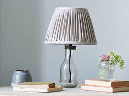 milk bottle table lamp with natural pleated shade