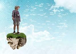 Digital Composite Of Young Adventurer Boy On Floating Rock Platform