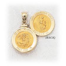 guardian angel st michael frame 14k yellow gold height 11 16