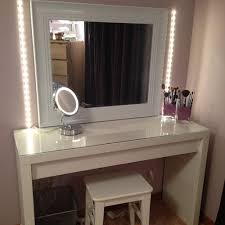 stunning impressive white vanity table with square mirror and beautiful white chair and laminate floor