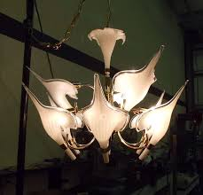 mid century modern beautiful murano calla lily chandelier by franco luce for