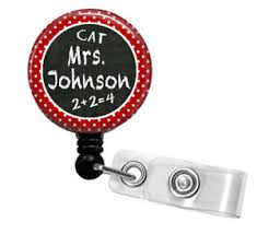 Personalized Teacher Chalkboard Retractable Id Badge Holder Lanyard