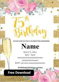 Birthday party program template word. Free Printable 75th Birthday Invitations Templates Party Invitation