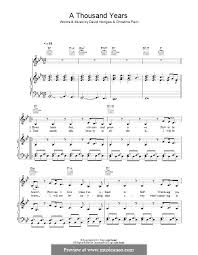 A Thousand Years Sheet Music Melody Line