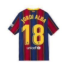 Danxen - Kinder Fußball Jordi Alba #18 Heimtrikot Rot Blau Trikot 2020/21  Hemd